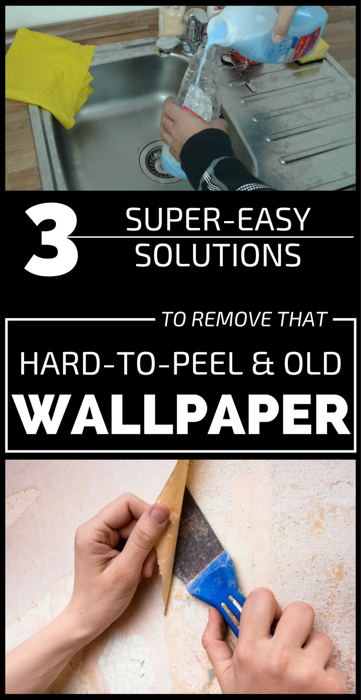 3 super easy solutions to remove that hard to peel and old wallpaper. Black Bedroom Furniture Sets. Home Design Ideas